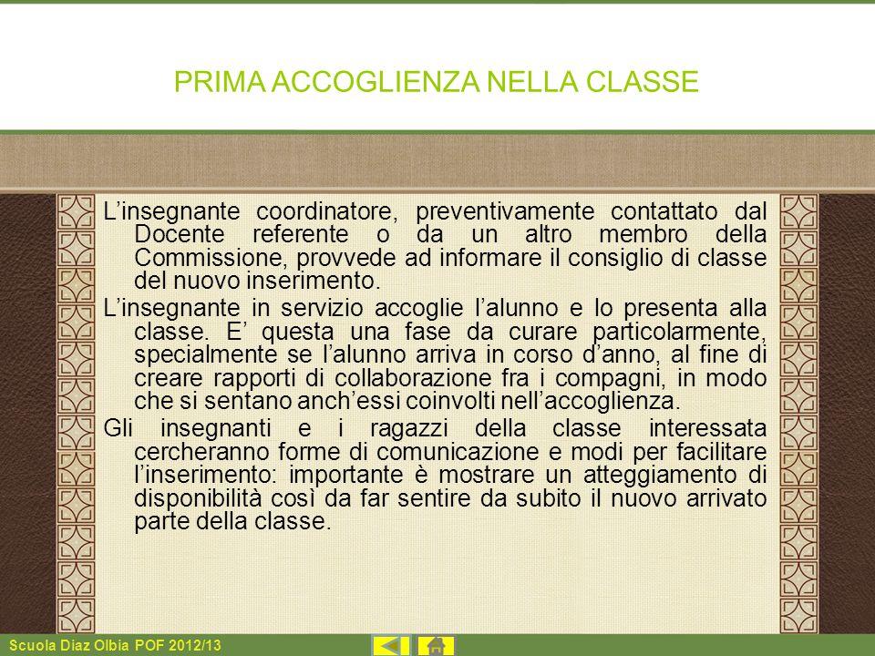 PRIMA ACCOGLIENZA NELLA CLASSE