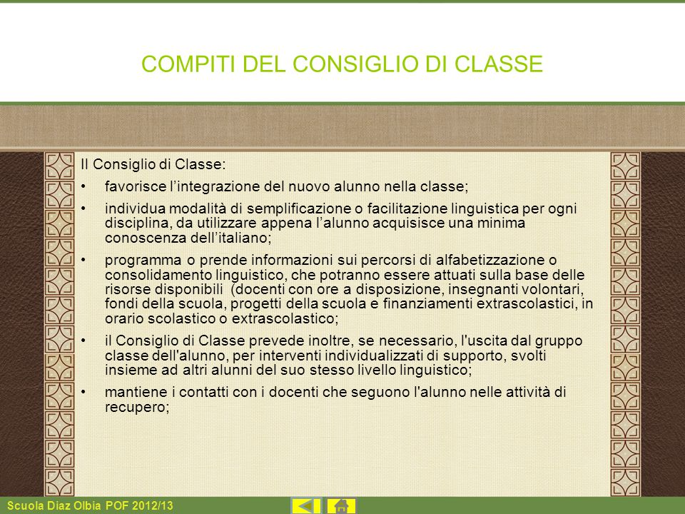 COMPITI DEL CONSIGLIO DI CLASSE