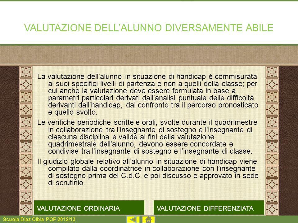 VALUTAZIONE DELL'ALUNNO DIVERSAMENTE ABILE