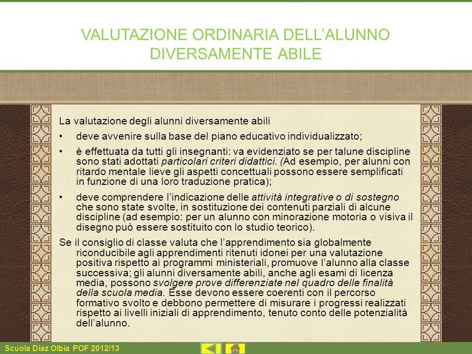 VALUTAZIONE ORDINARIA DELL'ALUNNO DIVERSAMENTE ABILE