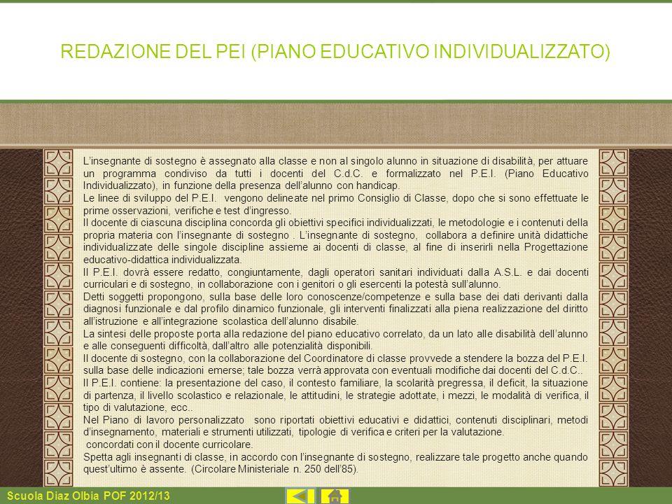 REDAZIONE DEL PEI (PIANO EDUCATIVO INDIVIDUALIZZATO)
