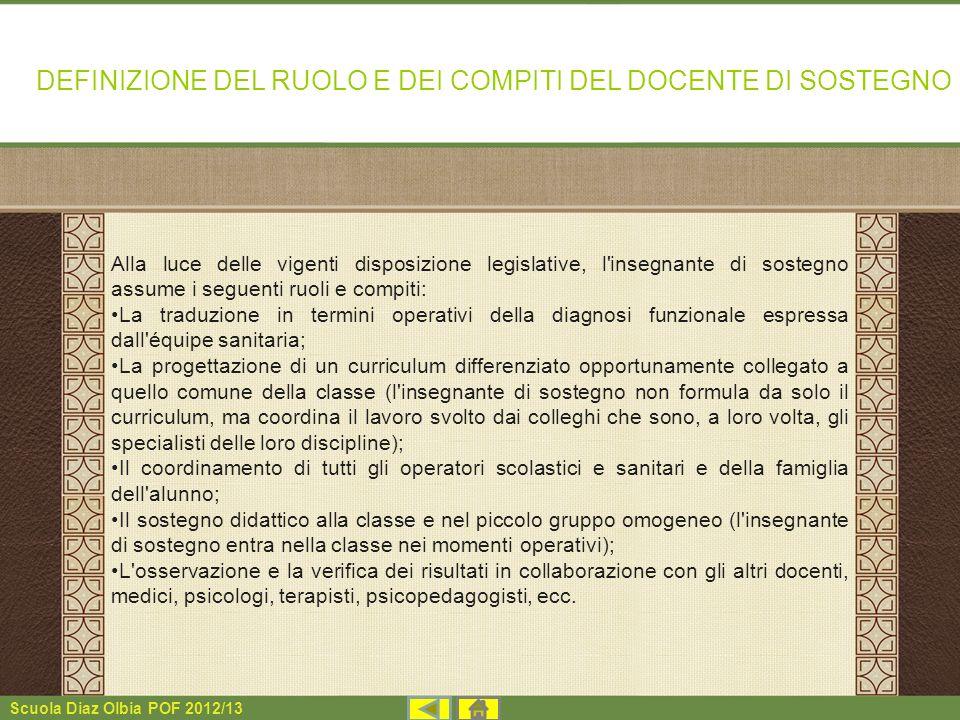 DEFINIZIONE DEL RUOLO E DEI COMPITI DEL DOCENTE DI SOSTEGNO