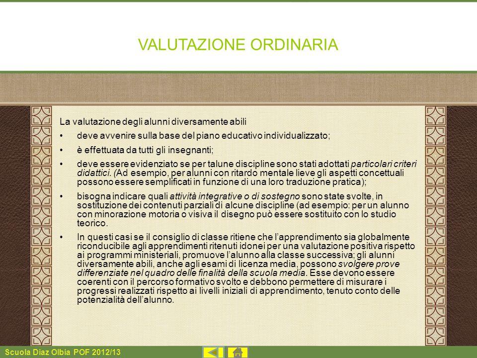 VALUTAZIONE ORDINARIA