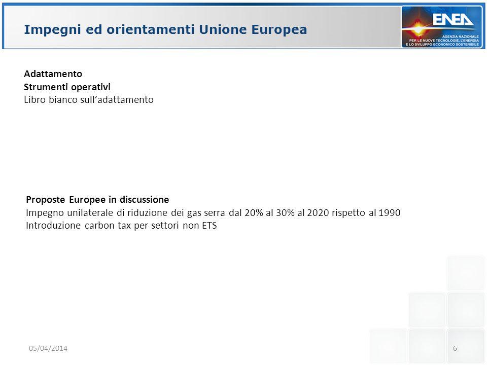 Impegni ed orientamenti Unione Europea