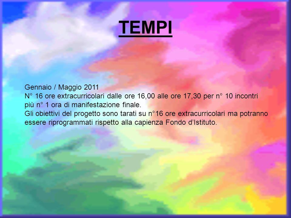 TEMPI Gennaio / Maggio 2011. N° 16 ore extracurricolari dalle ore 16,00 alle ore 17,30 per n° 10 incontri più n° 1 ora di manifestazione finale.