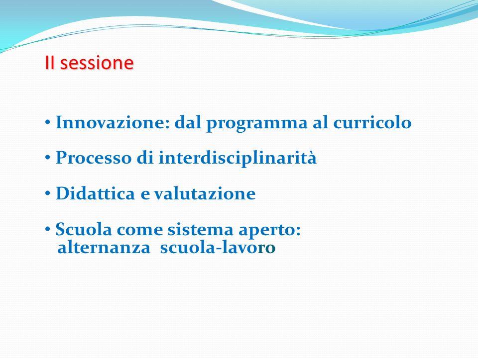II sessione Innovazione: dal programma al curricolo