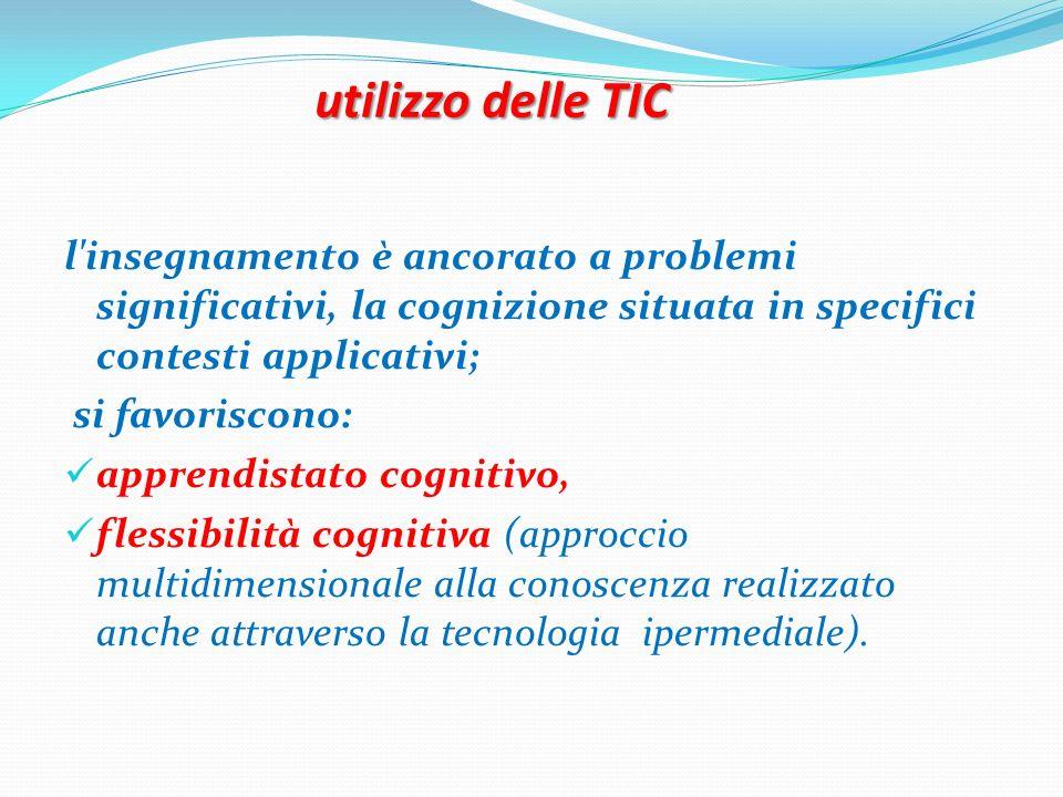 utilizzo delle TIC l insegnamento è ancorato a problemi significativi, la cognizione situata in specifici contesti applicativi;