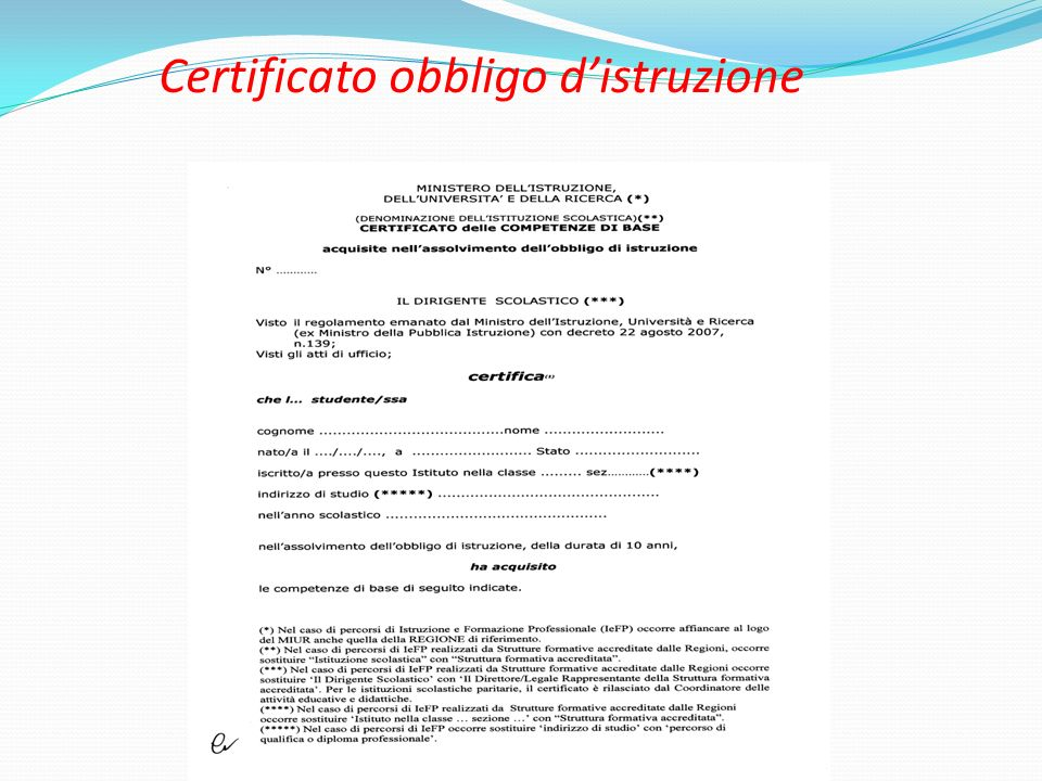 Certificato obbligo d'istruzione