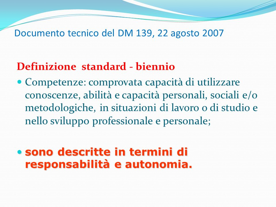 Documento tecnico del DM 139, 22 agosto 2007