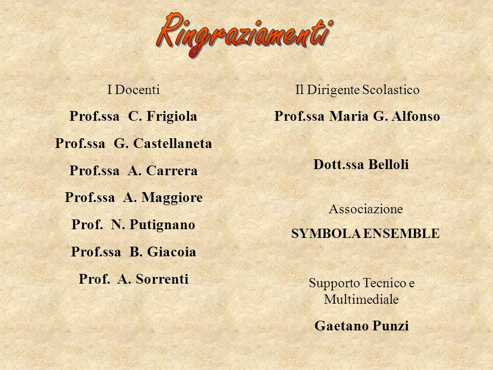 Prof.ssa G. Castellaneta Prof.ssa Maria G. Alfonso