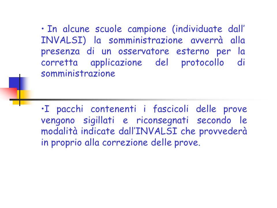 In alcune scuole campione (individuate dall' INVALSI) la somministrazione avverrà alla presenza di un osservatore esterno per la corretta applicazione del protocollo di somministrazione