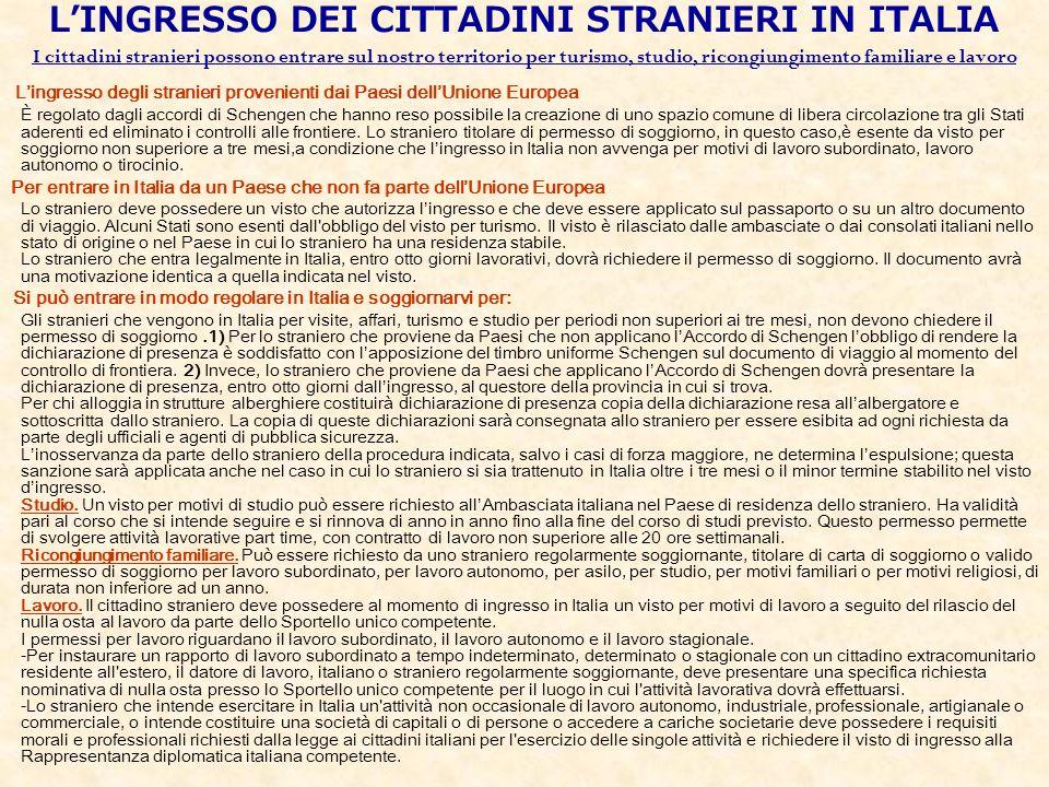 L'INGRESSO DEI CITTADINI STRANIERI IN ITALIA I cittadini stranieri possono entrare sul nostro territorio per turismo, studio, ricongiungimento familiare e lavoro
