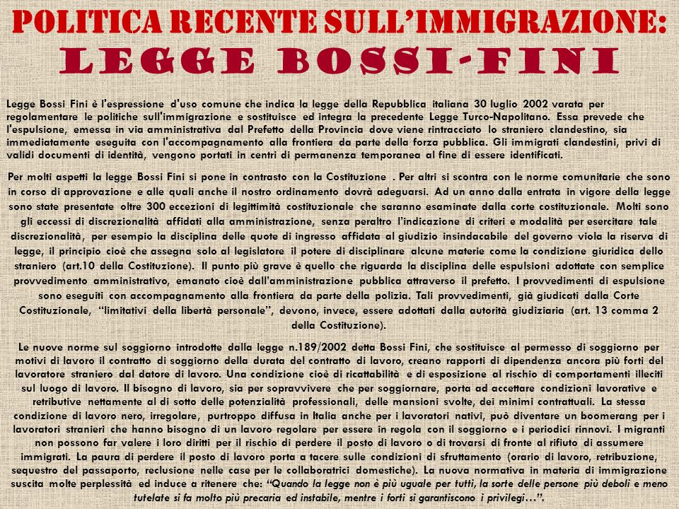 Politica recente sull'immigrazione: Legge Bossi-Fini