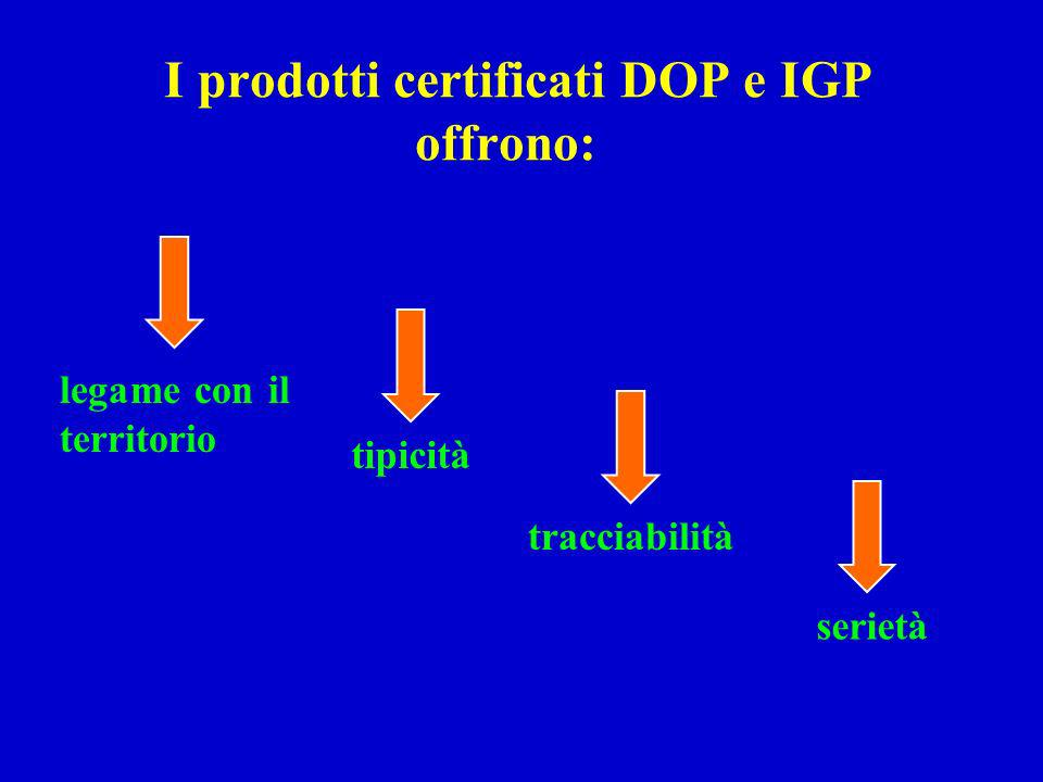 I prodotti certificati DOP e IGP offrono:
