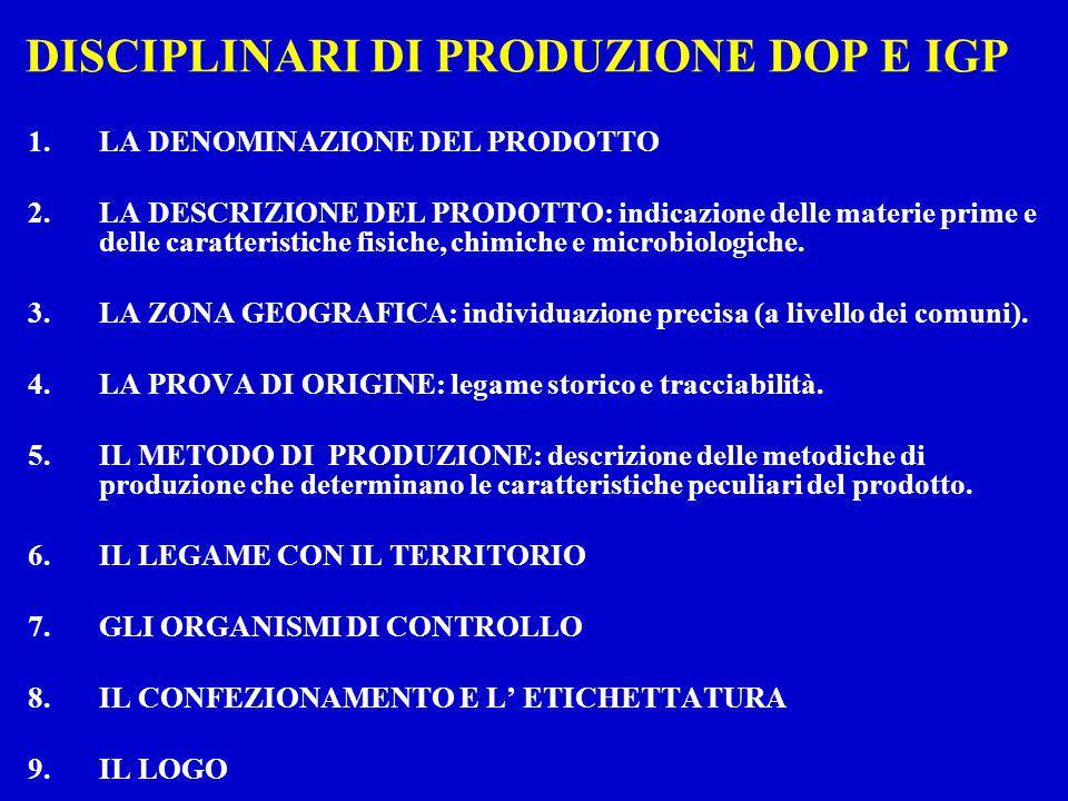 DISCIPLINARI DI PRODUZIONE DOP E IGP