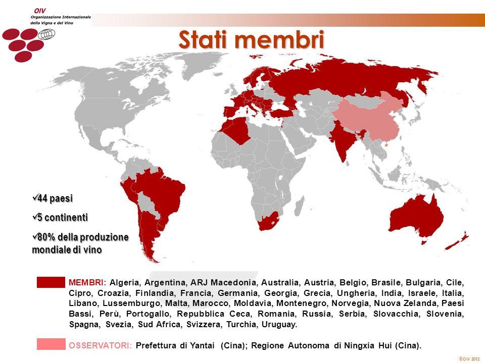 Stati membri 44 paesi 5 continenti