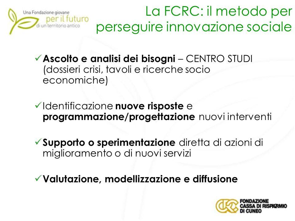 La FCRC: il metodo per perseguire innovazione sociale