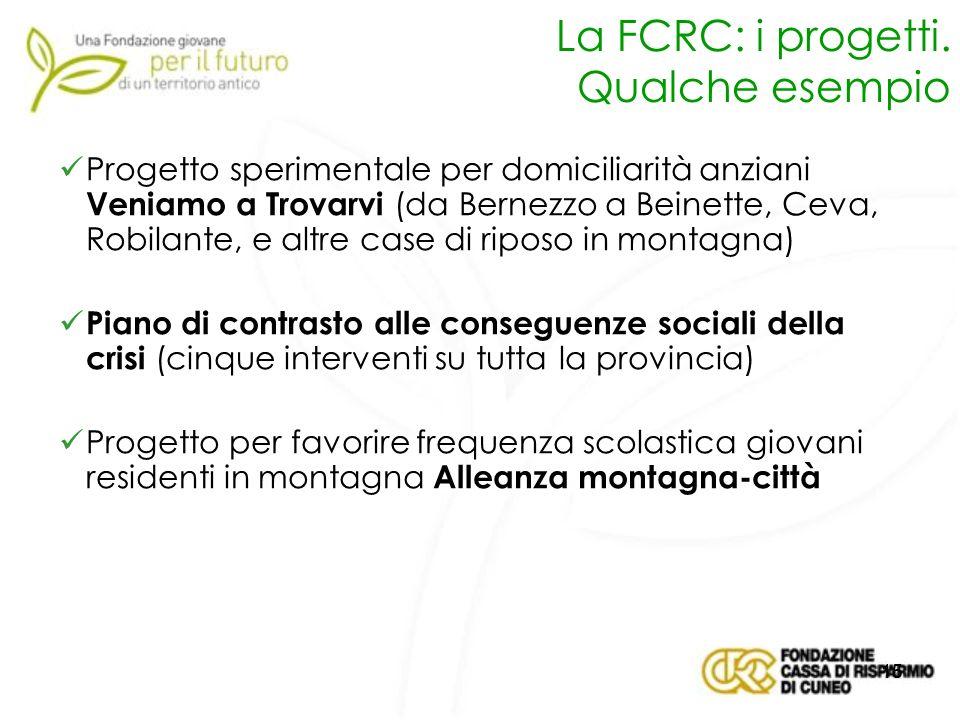 La FCRC: i progetti. Qualche esempio