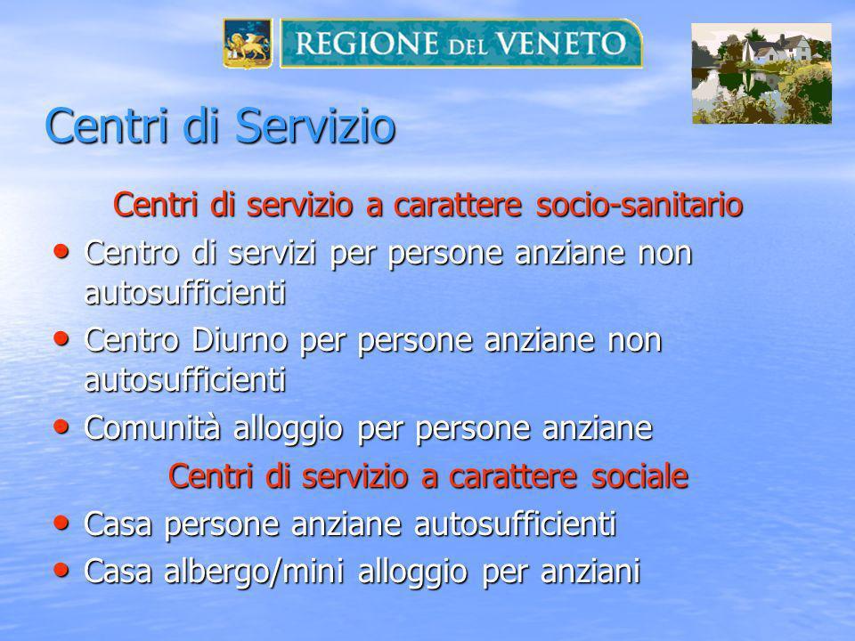 Centri di Servizio Centri di servizio a carattere socio-sanitario