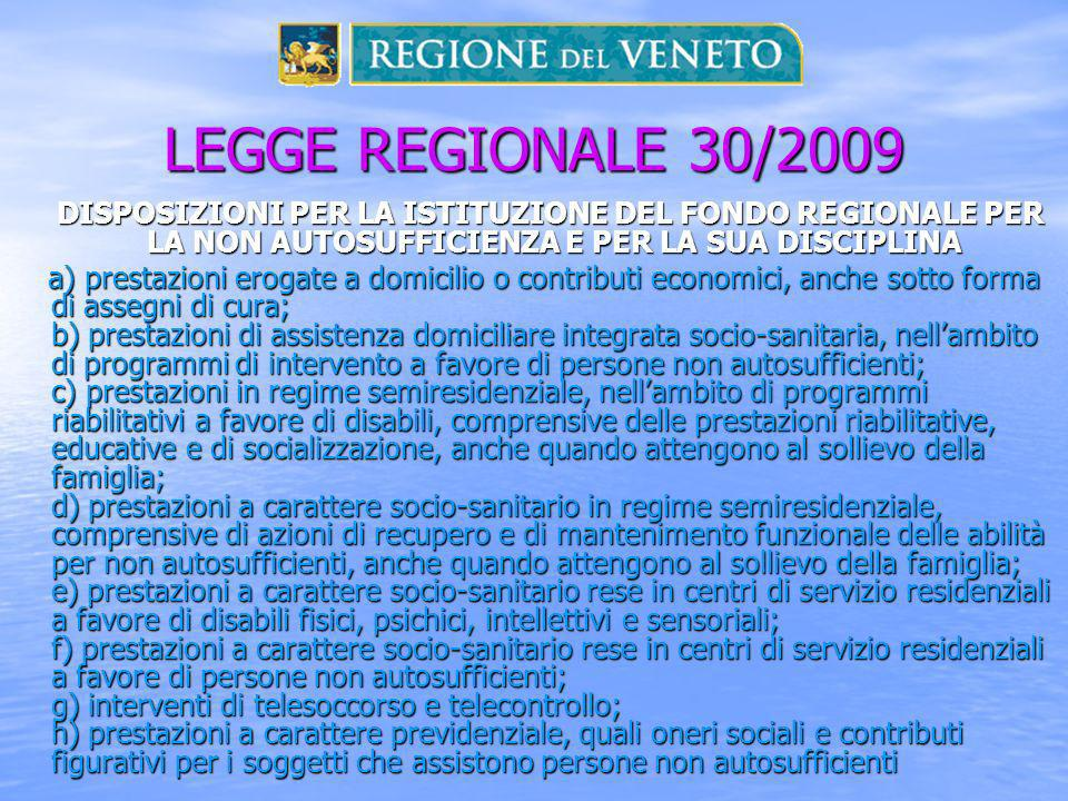 LEGGE REGIONALE 30/2009 DISPOSIZIONI PER LA ISTITUZIONE DEL FONDO REGIONALE PER LA NON AUTOSUFFICIENZA E PER LA SUA DISCIPLINA.