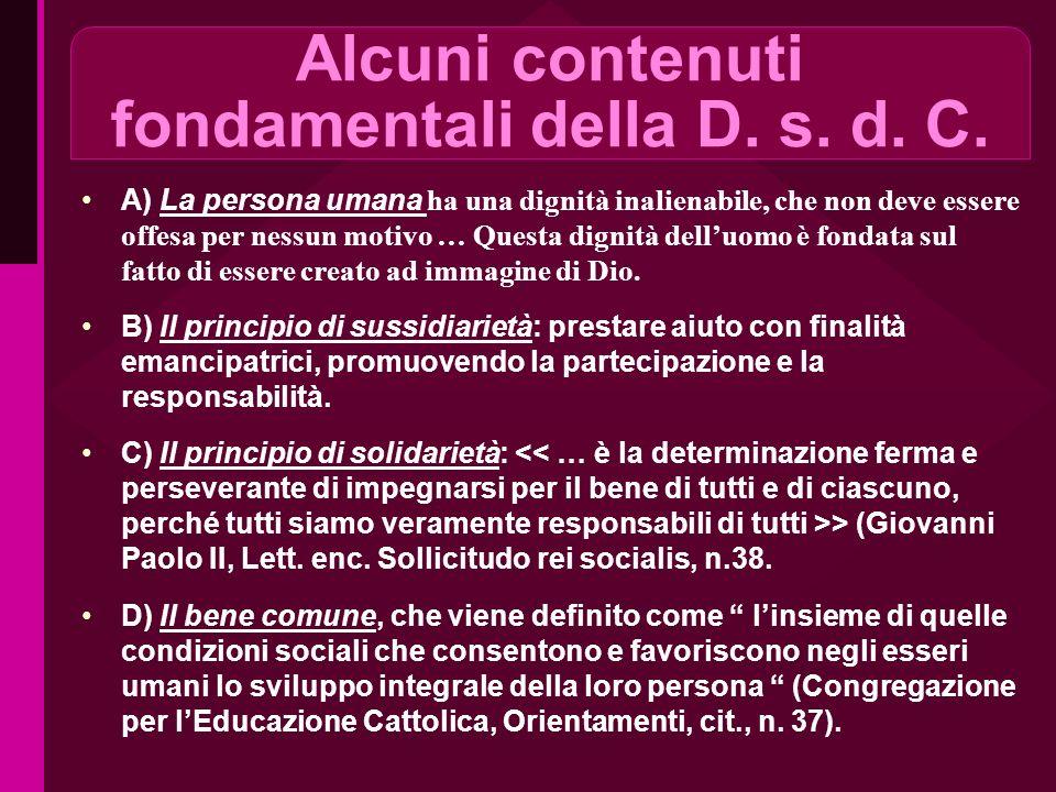 Alcuni contenuti fondamentali della D. s. d. C.