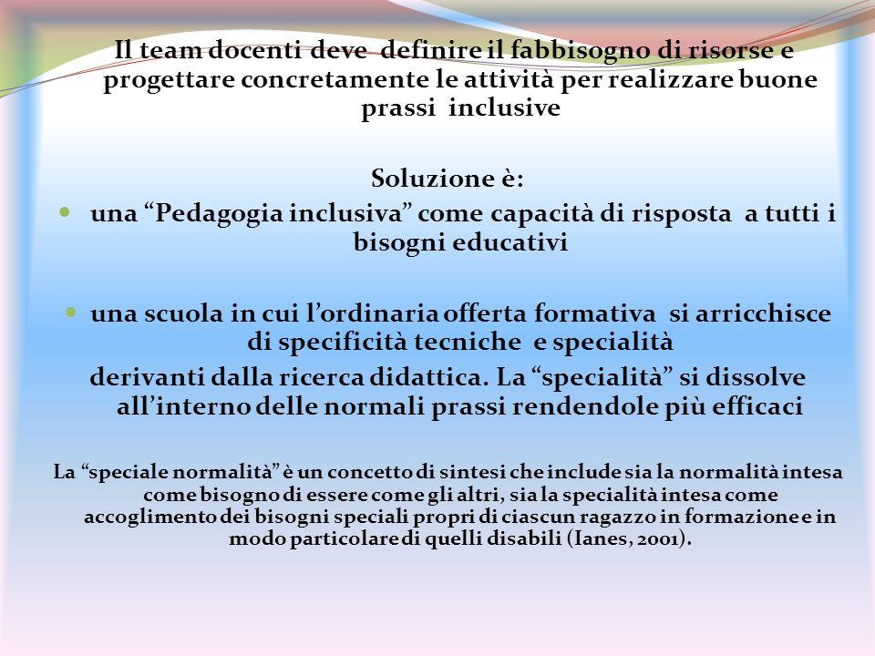 Il team docenti deve definire il fabbisogno di risorse e progettare concretamente le attività per realizzare buone prassi inclusive