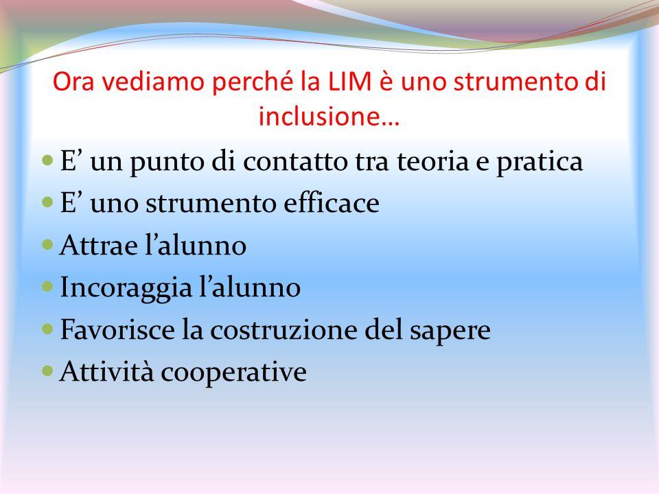 Ora vediamo perché la LIM è uno strumento di inclusione…