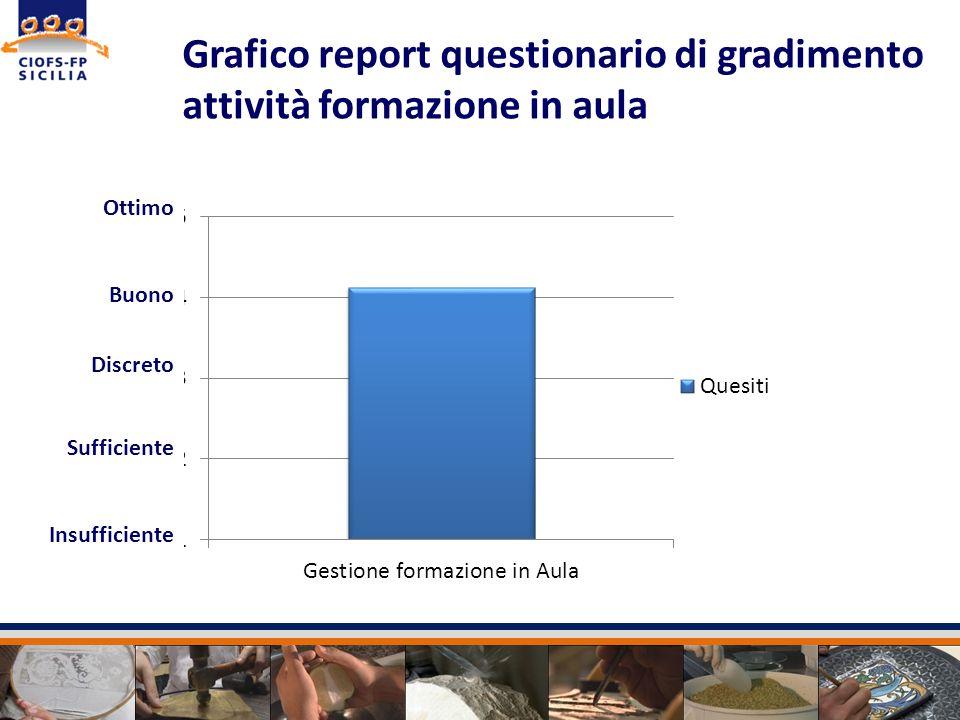 Grafico report questionario di gradimento attività formazione in aula