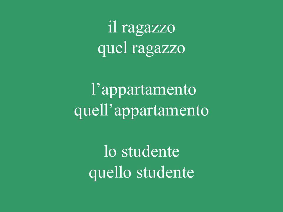il ragazzo quel ragazzo l'appartamento quell'appartamento lo studente quello studente