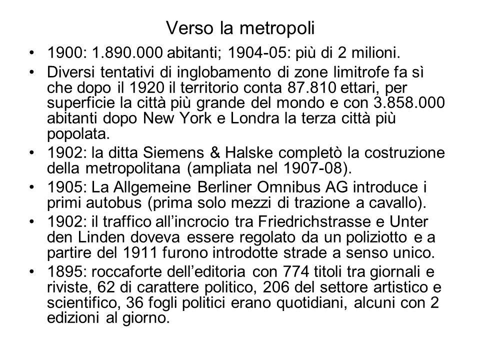Verso la metropoli 1900: 1.890.000 abitanti; 1904-05: più di 2 milioni.