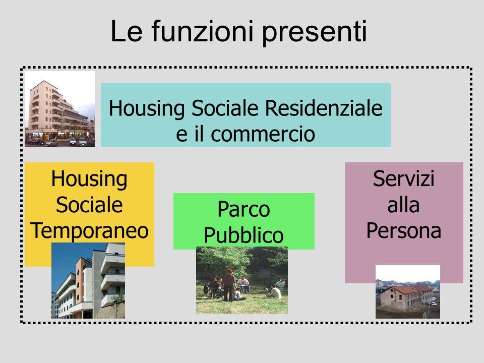 Le funzioni presenti Housing Sociale Residenziale e il commercio