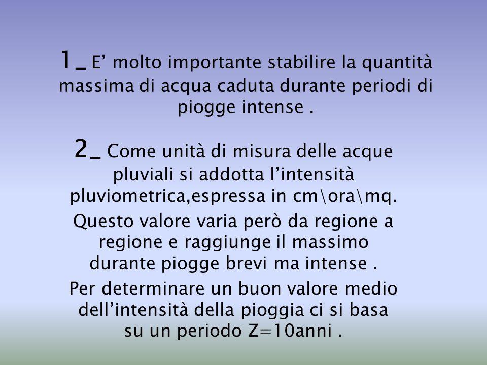 1_ E' molto importante stabilire la quantità massima di acqua caduta durante periodi di piogge intense .