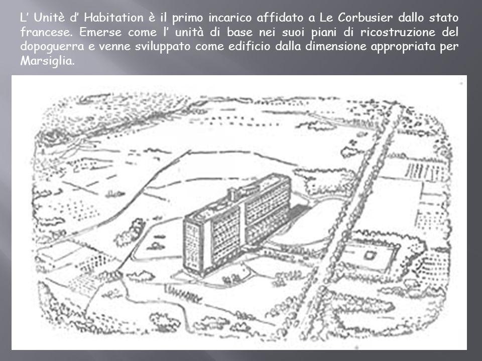 L' Unitè d' Habitation è il primo incarico affidato a Le Corbusier dallo stato francese.