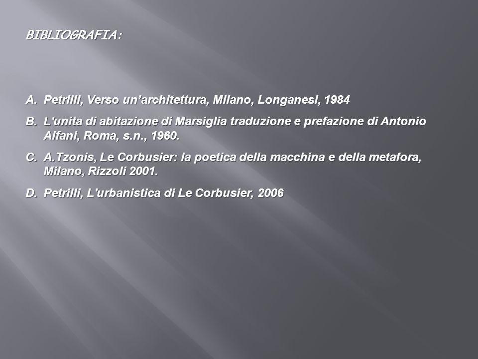 BIBLIOGRAFIA: Petrilli, Verso un'architettura, Milano, Longanesi, 1984.