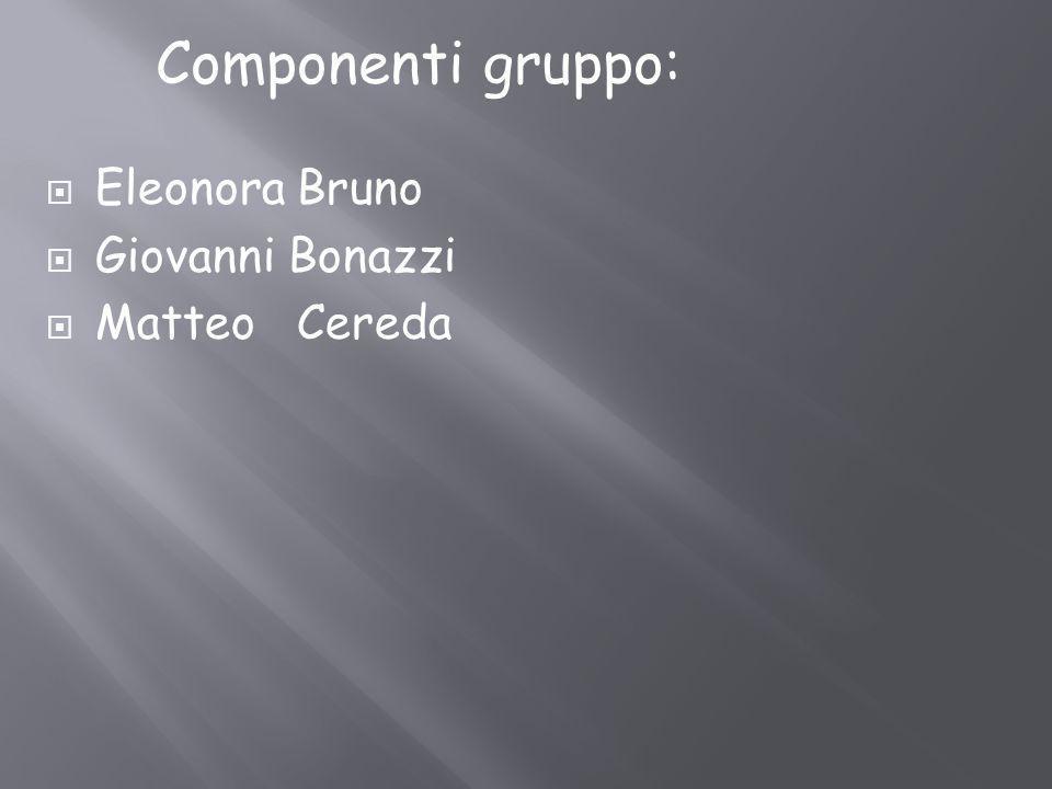 Componenti gruppo: Eleonora Bruno Giovanni Bonazzi Matteo Cereda