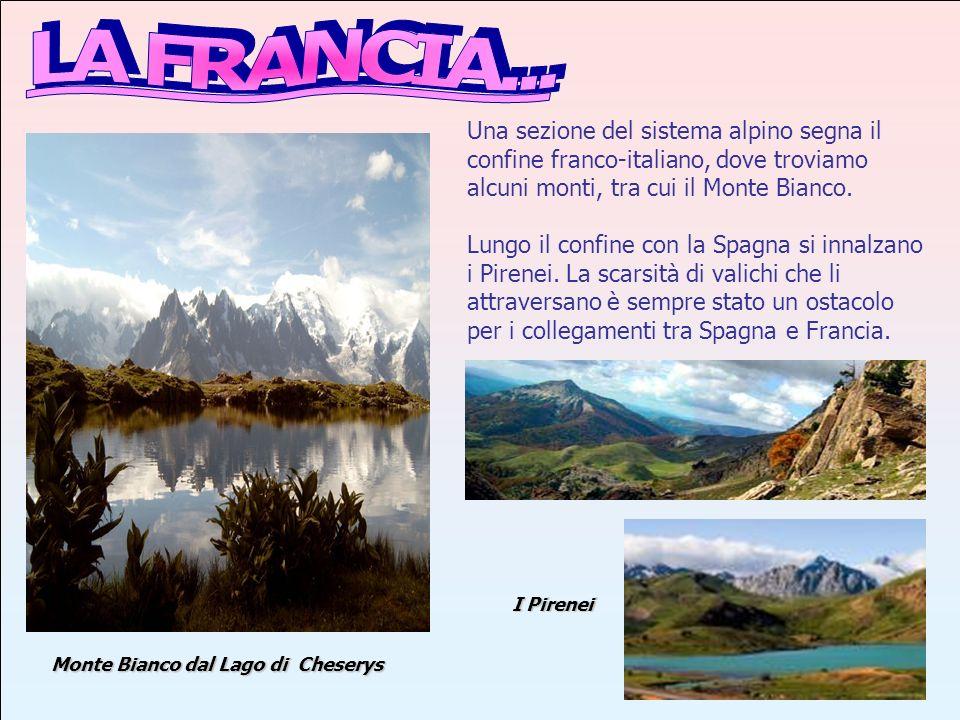 LA FRANCIA... Una sezione del sistema alpino segna il confine franco-italiano, dove troviamo alcuni monti, tra cui il Monte Bianco.
