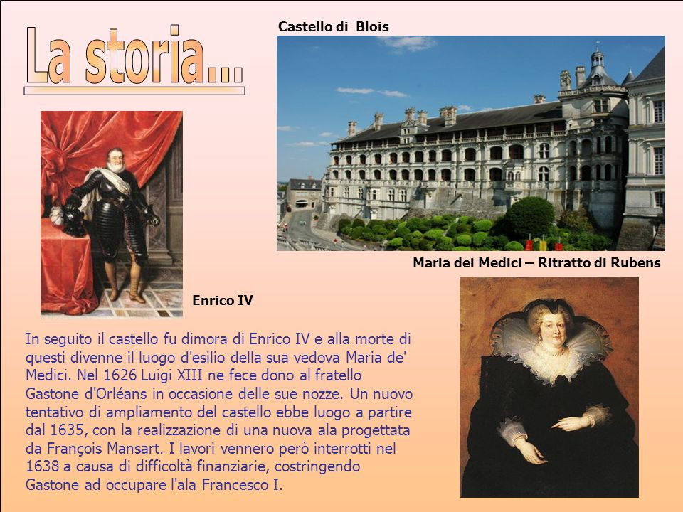 Castello di BloisLa storia... Maria dei Medici – Ritratto di Rubens. Enrico IV.