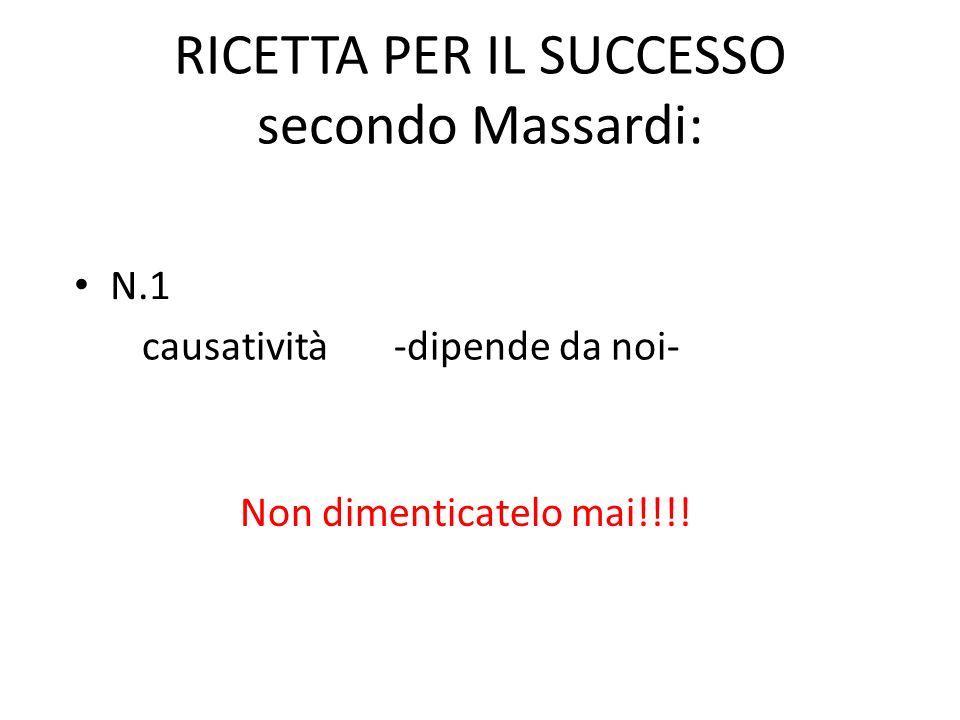 RICETTA PER IL SUCCESSO secondo Massardi: