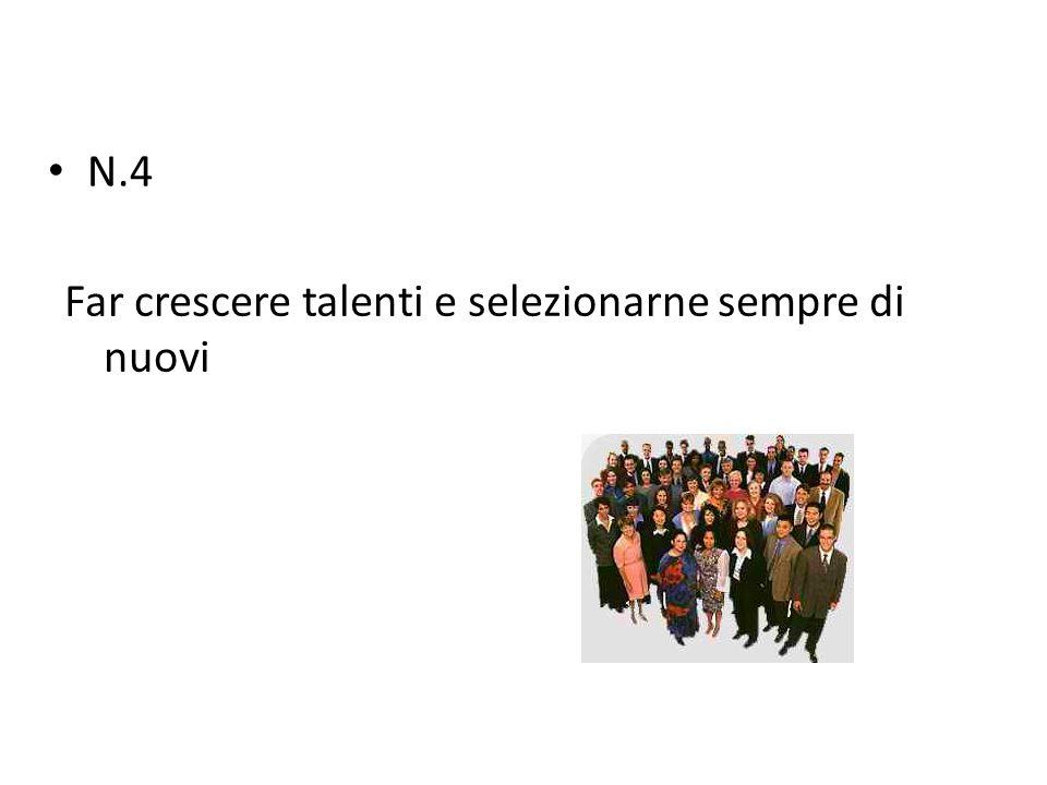 N.4 Far crescere talenti e selezionarne sempre di nuovi
