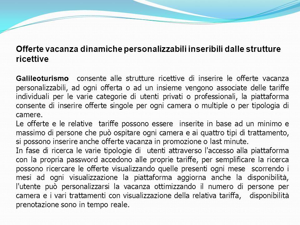 Offerte vacanza dinamiche personalizzabili inseribili dalle strutture ricettive