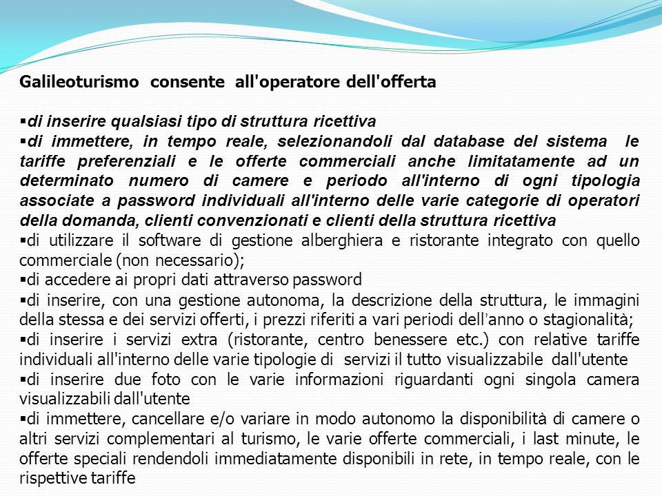 Galileoturismo consente all operatore dell offerta