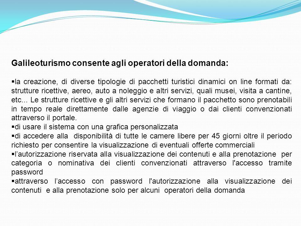 Galileoturismo consente agli operatori della domanda: