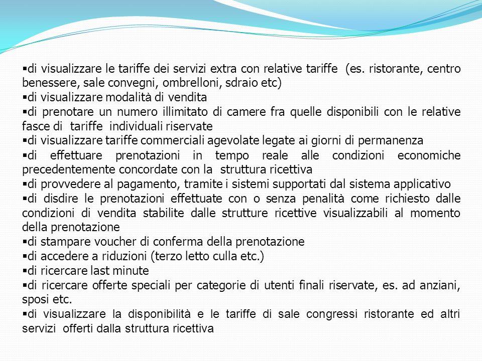 di visualizzare le tariffe dei servizi extra con relative tariffe (es
