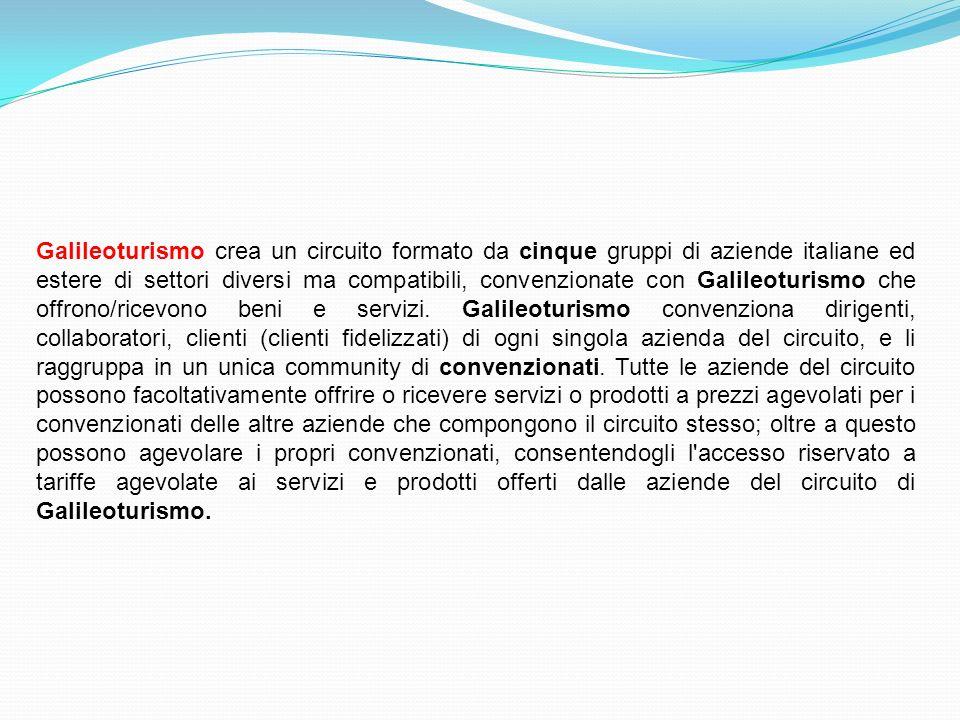 Galileoturismo crea un circuito formato da cinque gruppi di aziende italiane ed estere di settori diversi ma compatibili, convenzionate con Galileoturismo che offrono/ricevono beni e servizi.