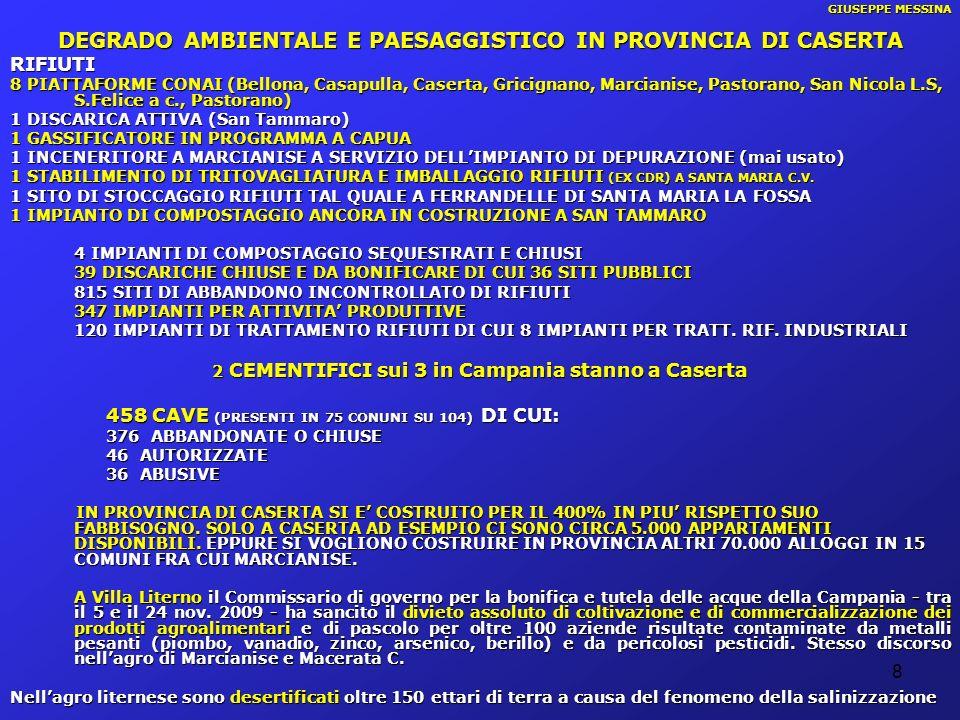 DEGRADO AMBIENTALE E PAESAGGISTICO IN PROVINCIA DI CASERTA