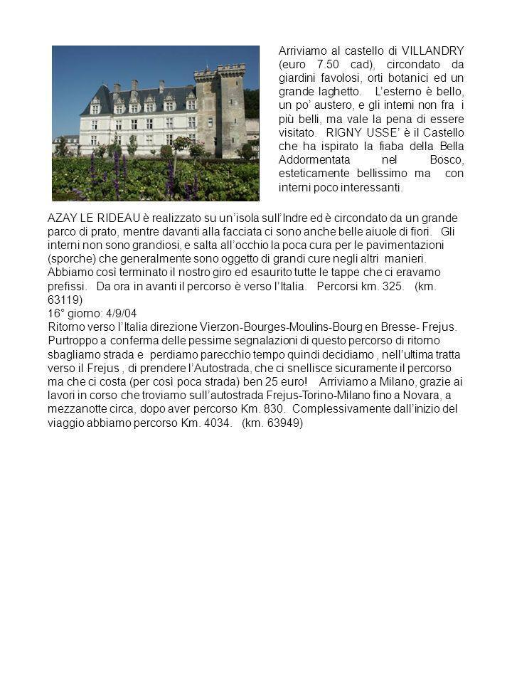 Arriviamo al castello di VILLANDRY (euro 7
