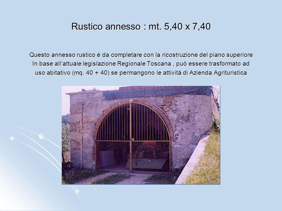 Rustico annesso : mt. 5,40 x 7,40 Questo annesso rustico è da completare con la ricostruzione del piano superiore.