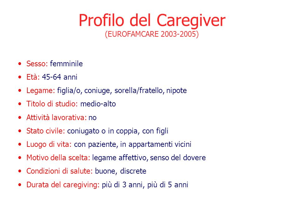 Profilo del Caregiver (EUROFAMCARE 2003-2005) Sesso: femminile