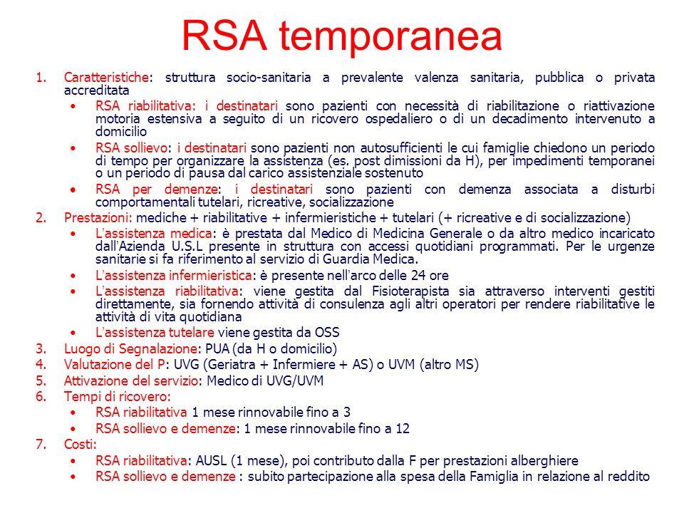 RSA temporanea Caratteristiche: struttura socio-sanitaria a prevalente valenza sanitaria, pubblica o privata accreditata.