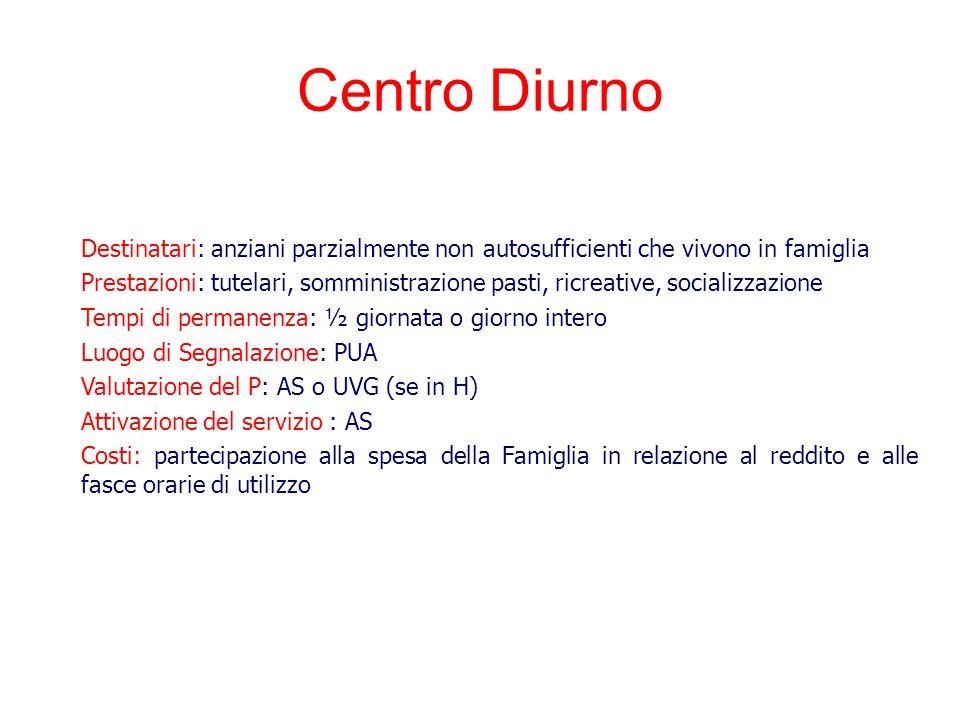 Centro Diurno Destinatari: anziani parzialmente non autosufficienti che vivono in famiglia.